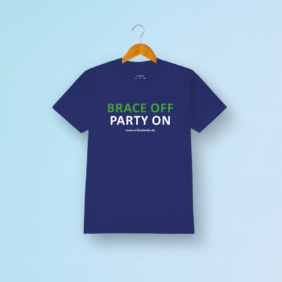 Brace Off Party On Tshirt Blau