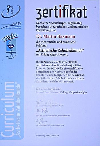 Zertifikat Dr.baxmann